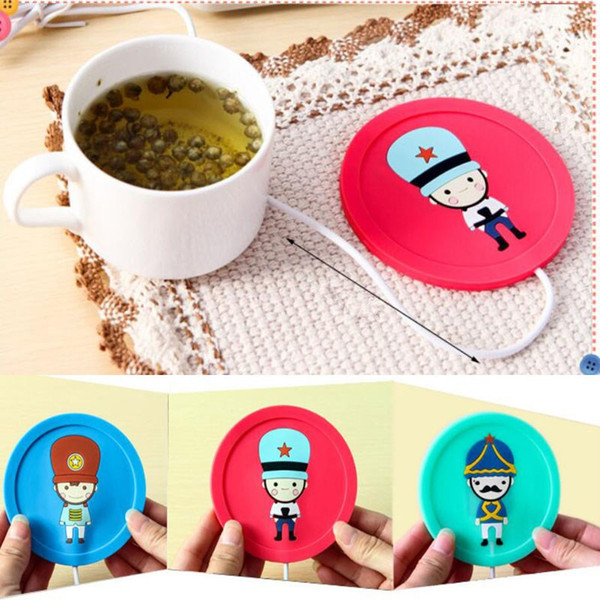 Cartoon USB Coffee Tea Cup Silicone Coaster Skid Drink Mug Insulation Warmer Round Coasters Heating Table Placemats Bar Mat