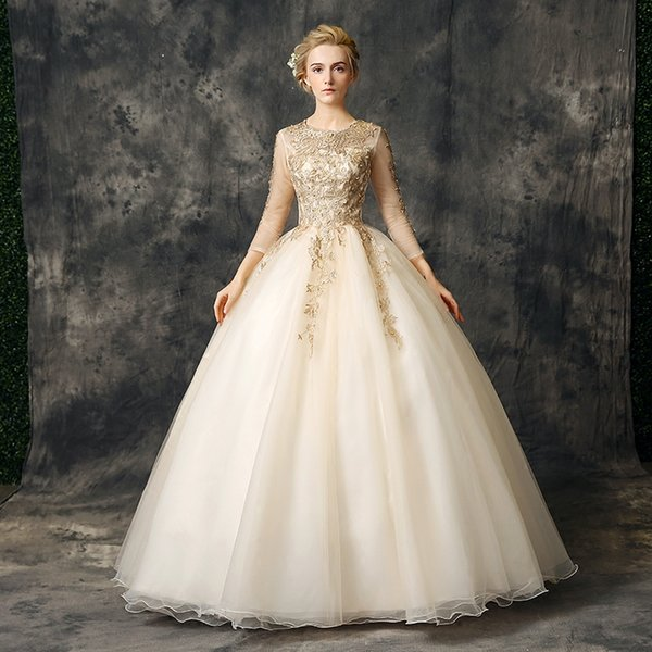 Champagne Ball Gown Prom Dresses Jewel Embroidery 3/4 Long Sleeves ...