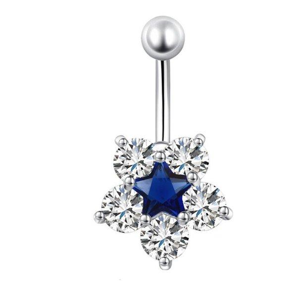 18K White Gold Plated CZ Blue/White/Pink Sparky Star Flower Belly Dance Ring for Girls Women Hot Gift