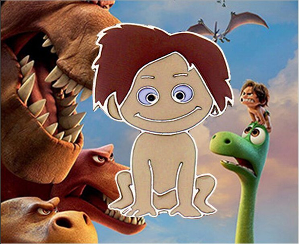 2017 silver plated alloy punk Animation The Good Dinosaur Spot necklace Cartoon pendant Brown hair Doll boy child necklace girl x196