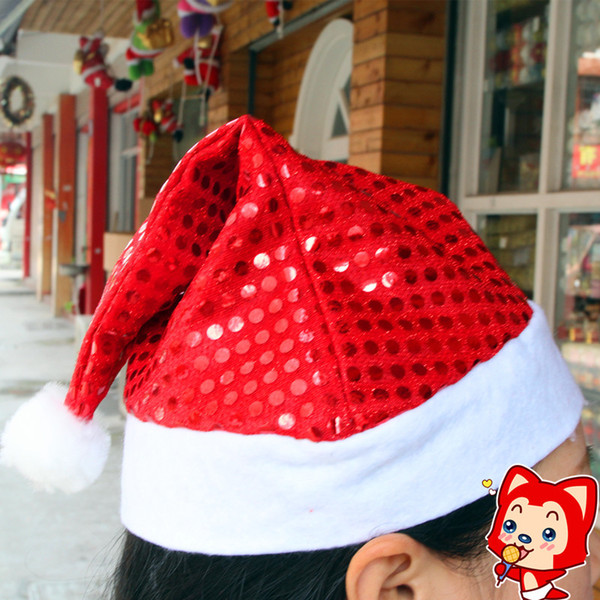 2016 Christmas Santa Claus hats Paillette New year party cosplay hat 5colors 29*35cm Cute adults Christmas cap ornament Supplies Gold purple