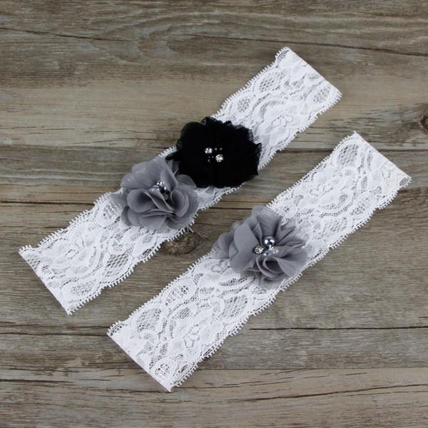 Zwei Stücke / Set Hohe Qualität Braut Strumpfband Gürtel Mit Spitze Grau Chiffon Blume Perlen Echt Fotos Hochzeit Strumpfbänder # BW-G007