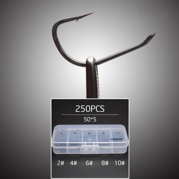 250pcs /Lot Tfsh -B #2 #4 #6 #8 #10 Barbed Hooks Set Teflon Coated High Carbon Steel Carp Fishing Hook W /Free Hook Box Tackle Box