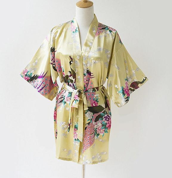 Wholesale- Fashion Gold Ladies Robe Kimono Mujeres Vestido Novelty China Summer Rayon Bath Gown Nightgown Plus Size S M L XL XXL XXXL S0035