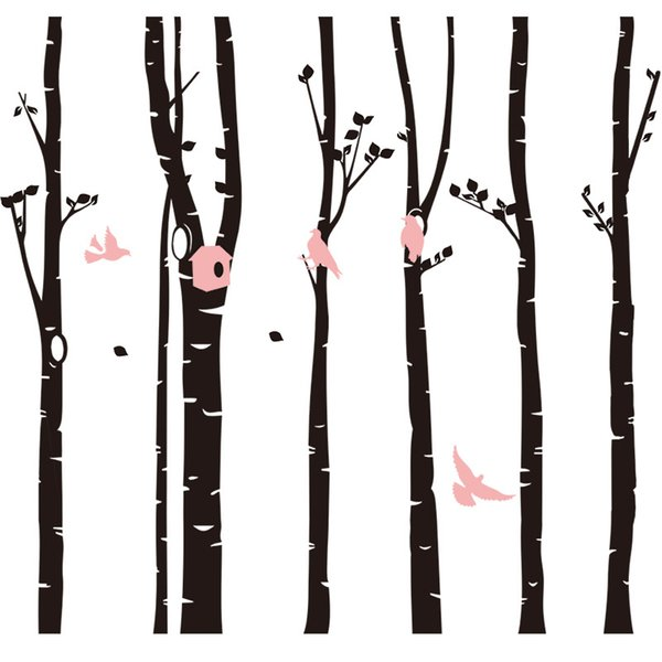 """6pcs/pack DIY Large Forest Birds Tree Wall Sticker Living Room Bedroom Background PVC Waterproof Removable Home Decoration Decal 98.9x90.6"""""""