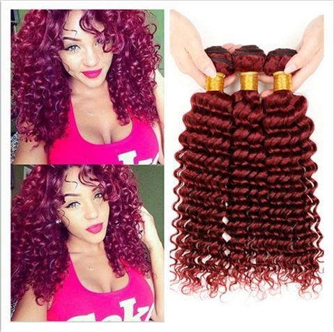 Virgin Brazilian Deep Curly Wave Burgundy Human Hair 3Bundles 9A Grade #99J Wine Red Brazilian Virgin Human Hair Extensions Free Shipping
