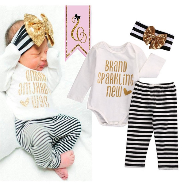 Xms Baby Kids Girl Clothing Set Christmas Pajamas Boutique Clothes Toddler Outfit Bodysuit 3PCS Romper Set Long Sleeve Onesies+Striped Pants