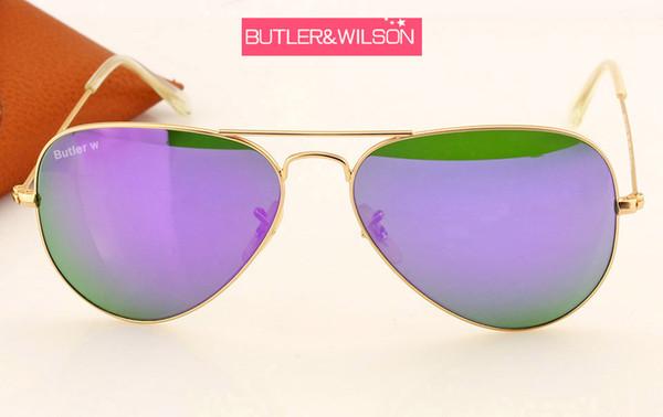 Güneş gözlüğü kadın erkek mavi yeşil mor turuncu flaş ayna güneş gözlüğü metal altın çerçeve en kaliteli marka tasarımcı pilot güneş gözlükleri 58mm
