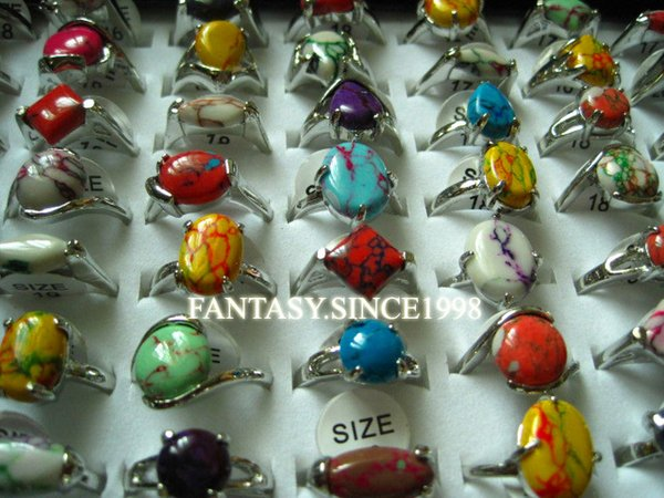 new 100pcs mixed styles fashion multi-color women's beautiful stone alloy jewelry rings wholesale job lots
