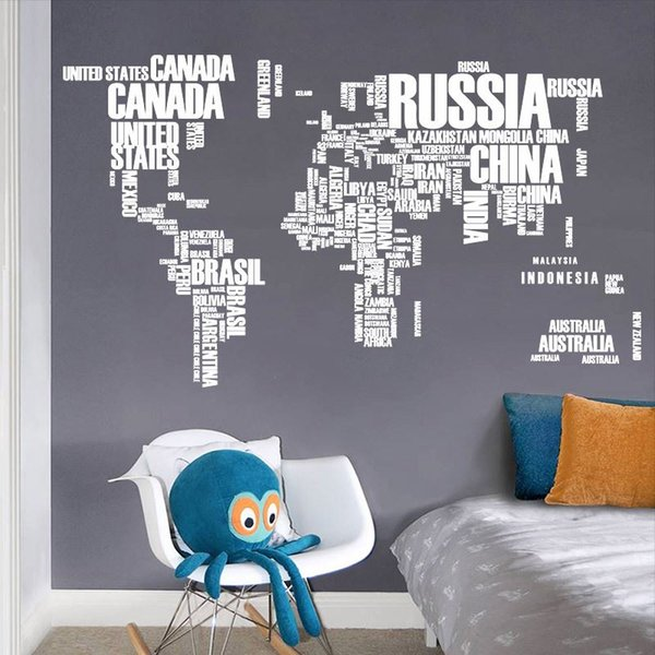 World Map Letter Quote Removable Vinyl Decal Art Mural Wall Stickers Home Decor 60*90cm