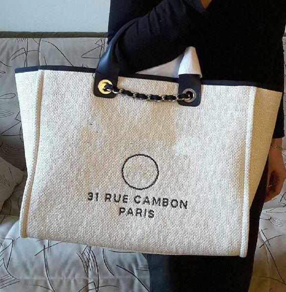 Best-selling High Quality Brand design XXL Handbag 1005 Grand Shopping Tote Chain Bag Denim fabric canvas Shoulder bag