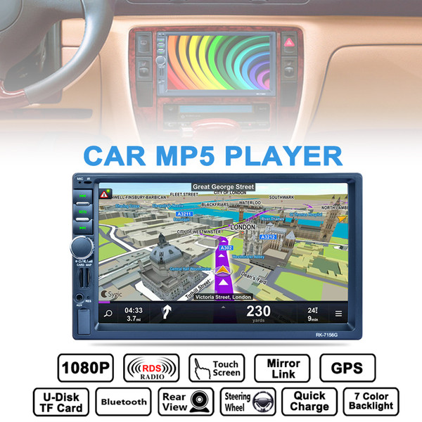 7 Inch 2 DIN Bluetooth Car Stereo MP5 Player GPS Navigation AM FM RDS Radio Support Mirror Link Aux In Rear View Camera CMO_22D