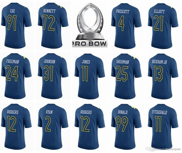 sports shoes e7ce7 efc08 2017 2017 Pro Bowl Jersey 21 Ezekiel Elliott 4 Dak Prescott 12 Aaron  Rodgers 13 Odell Beckham Jr 21 Landon Collins 25 Richard Sherman 99 Donald  From ...