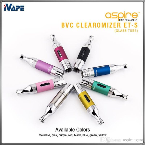 100% Original Aspire ET-S Clearomizer 3ml Glass Tube ETS BVC BDC E Electronic Cigarettes Atomizer with BVC BDC Replaceable Coil Available