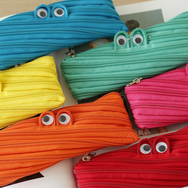 Wholesale-2016 Cute Solid Color Simple Pencil Bag Pencil Case Zipper Bag Pen Holders Cosmetic Makeup Tool Bag Stationery Kawaii Collection