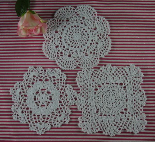 15pieces-Per design 5 PCS 3 Design / LOT Handmade Crocheted Doilies Vintage Placemats, cotton cup mat mug pad, Color Custom 18-20CM