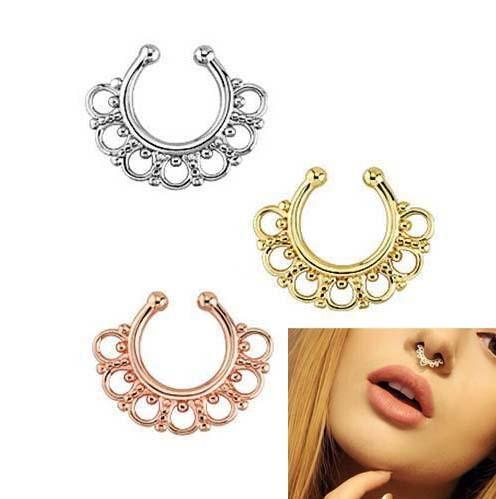 Nose Rings Studs fake nose ring Unisex Punk Non Piercing Fake Nose Ring Stud Hoop 18k Gold Fake Piercing Septum 16g Indian Piercing