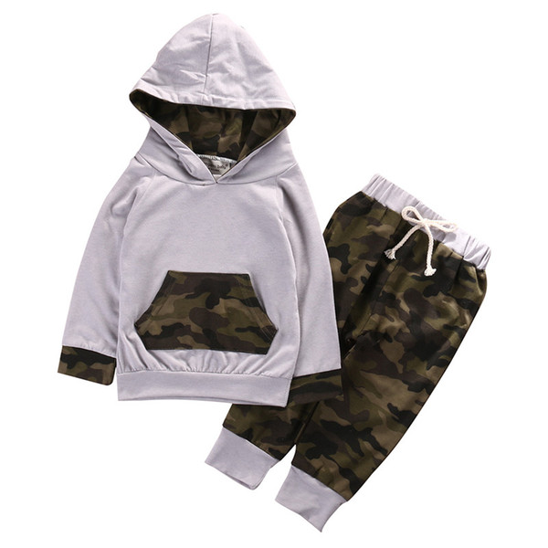 US Newborn Infant Baby Boy Camo Hoodie Long Pants Outfits Clothes Set Tracksuit