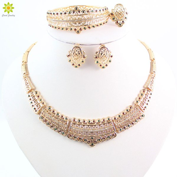 Classic Charming Rhinestone Women Necklace Earrings African Dubai Nigeria Bridal Costume 18K Gold Plated Jewelry Sets