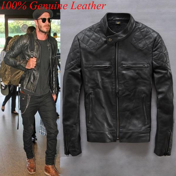 Compre 100% De Los Hombres De La Chaqueta De Cuero Genuino, Chaquetas De Cuero Para Hombre De Harley Y Coats, 2016 Escudo Beckham Motocicleta Negro