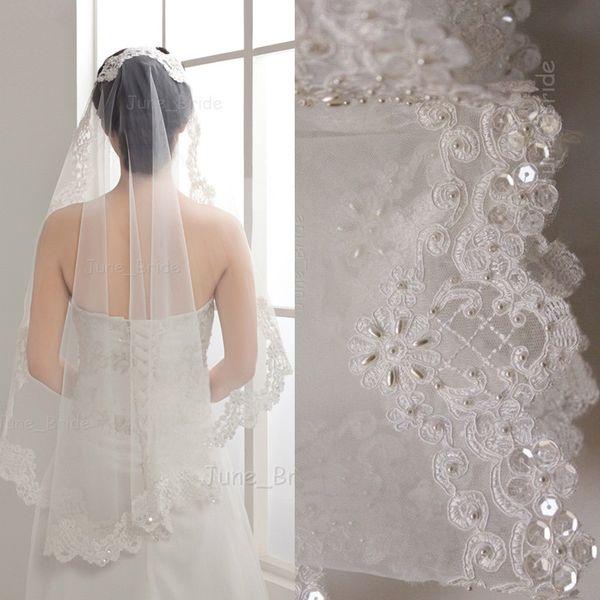 Alencon Lace Crescent Edge Mantilla Bridal Veil Wedding Accessory White Ivory Elbow One Layer Pearl Sequin Bead High Quality Handmade Veils