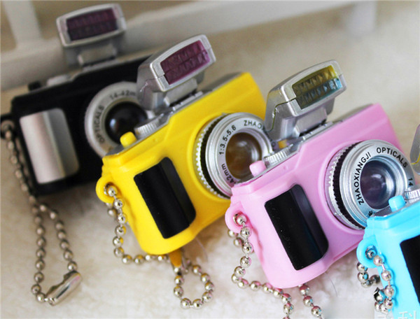 free shipping whilesale 2015 fashion models SLR cameras Led luminous voice keychain creative gift pendant flashlight