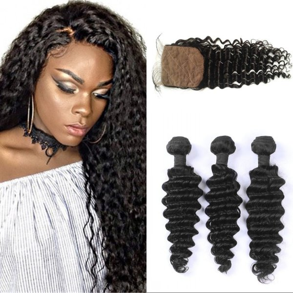3 Bundles Hair Weaves with Closure Natural Color Cambodian Silk Base Closure with Deep Wave Bundles FDSHINE