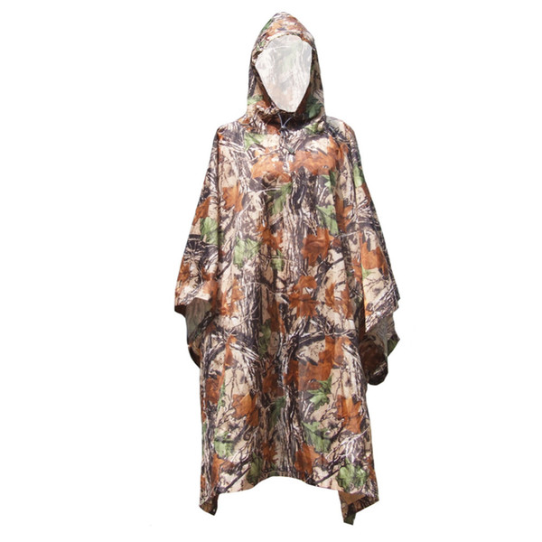 Multi-purpose Outdoor Poncho Raincoat Climbing Cycling Rain Cover Waterproof Camping Tent Mat Travel Equipment Camouflage