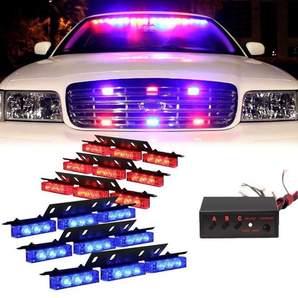 top popular Red Blue 54 LED 6X 9LED Emergency Warning Car Vehicle Police Dash Grill Strobe Light Bar 2021