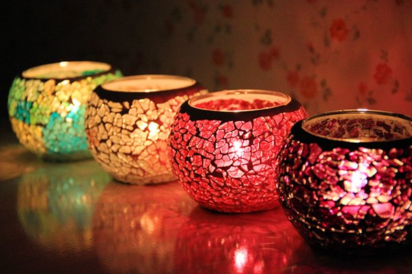 Crystal Glass Mosaic Glass Candle Holders European-Style Candlelight Creative Tealight Votive Holder For Wedding Home deco