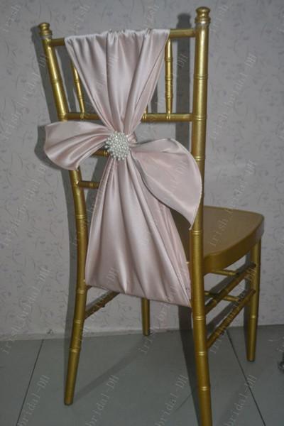 2016 Custom Made Satin Pearls Chair Covers Romantic Beautiful Chair Sashes Cheap Wedding Chair Decorations 014