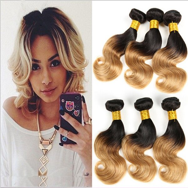 Short Wavy Bob Style Hair Weaves Two Tone Color 1B/27 Honey Blonde Ombre Peruvian Human Hair Weft Extensions 3 Bundles/Lot