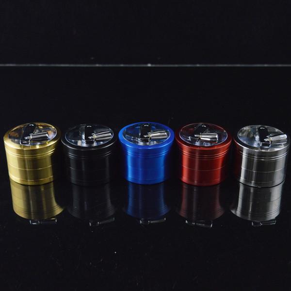Manivelas de alta calidad de la manivela de la mano 4pc 4 capas 60m m * 45m m Pipas de la trituradora de la amoladora del tabaco del tabaquismo con la tapa de pulido magnética céntrica