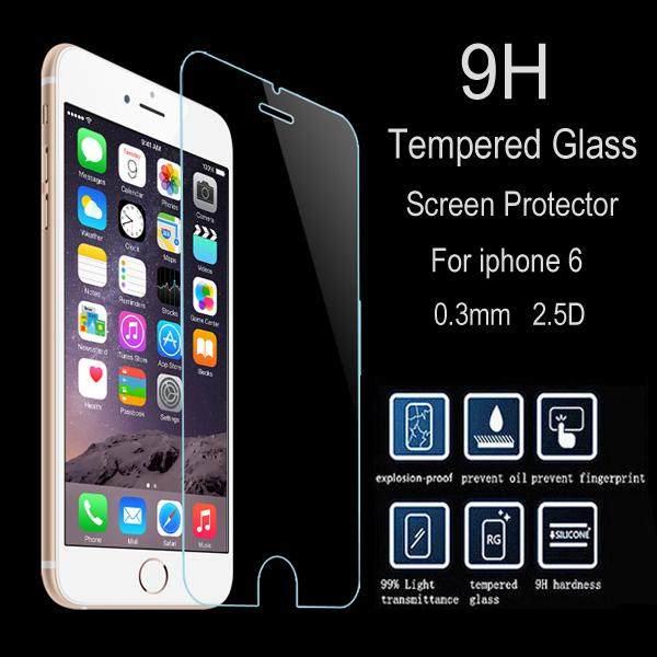 2.5D 9H Tempered Glass LCD Screen Protector Anti-finger Explosion-proof Guard Film for 4.7 5.5 inch iPhone 6G 6 6S Plus 6+ 5 5C 5S 4S