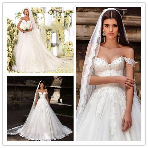 Discount 2017 Off Shoulder Exquisite Wedding Dresses Beaded Lace ...