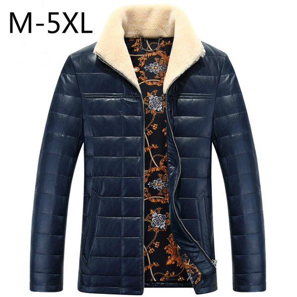 Duck Down Jackets Mens PU Leather Coats Winter Down Parkas Fur Collar Warm Outwear Overcoat Waterproof Snow Clothes 5XL 2017