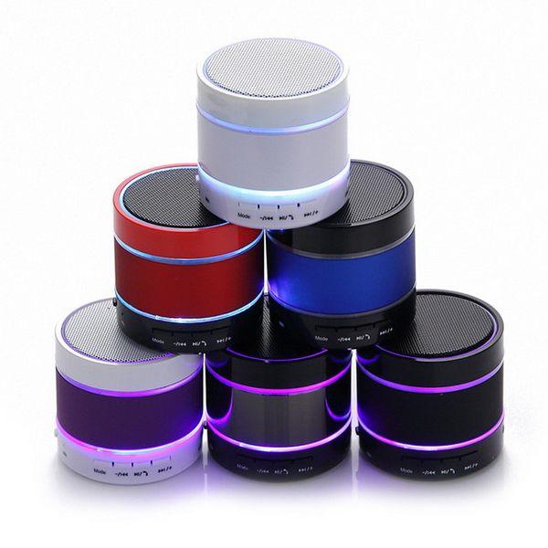 Mini LED Speaker S09 Enhanced Speakers 3 LED Light Ring Super Bass Metal Mini Portable Subwoofer Beat Hi-Fi Bluetooth Handsfree Xmas Gift