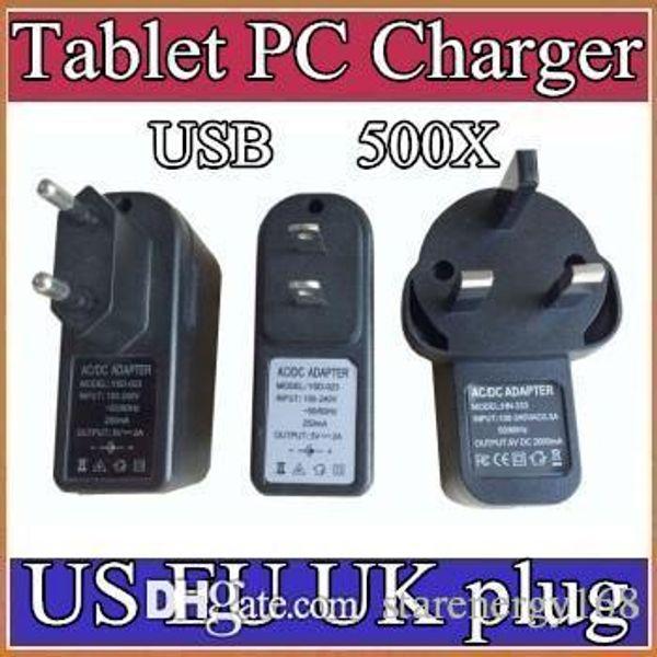 500X AB ABD İNGILTERE Tak Evrensel USB Şarj AC Güç Adaptörü Tablet PC Cep Telefonu için 5 V 2A C-PD