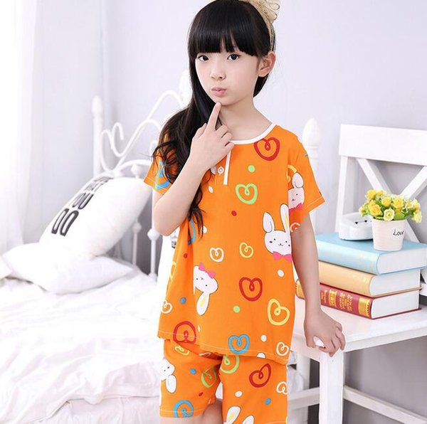 childen girl cotton short sleeves pajamas set summer pyjamas kids sleepwear nightwear lovely homewear for 4-7T free shipping