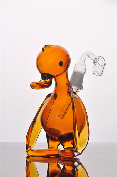 Cute Yellow Duck Glass Pipes With Bnager Recycler Oil Rigs mini Bong bubble egg Hookahs 14mm Joint bowl Smoking Pipe
