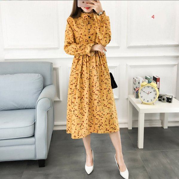 Thickening Printing Dress Corduroy Vintage Casual Dresses Slim Fit Elegant Floral Printed Women Clothing 2017 New Fashion
