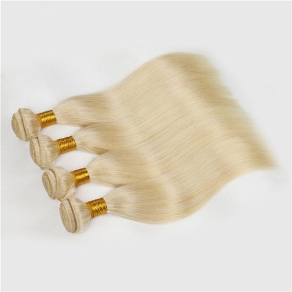 Russian Blonde Human Hair Weave Pure Color #613 Platinum Bleach Blonde 4Pcs 9A Russian Silky Straight Human Hair Weave Bundles