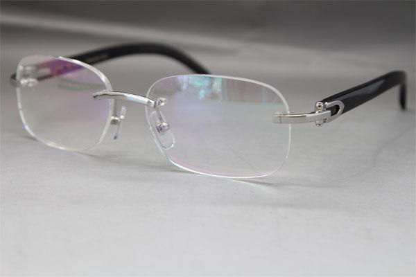 Hot Rimless 8200757 Men Black Buffalo Horn Occhiali da vista montature per occhiali da uomo marca Frame Size: 56-18-140mm