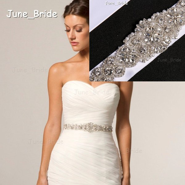Bridal Sash Rhinestone Applique Crystal Pearl Rhinestone Belt Trim Bride Party Tie Backs New Style Real Photo High Quality Ribbon Belts