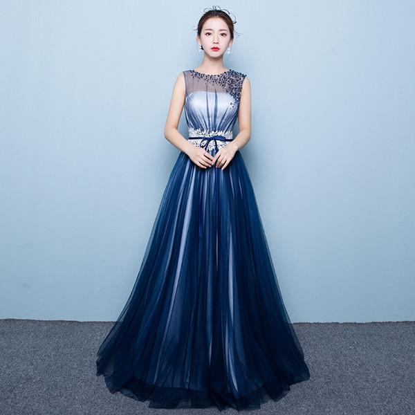 100% real voile bleu marine taille dentelle broderie épaule perles robe de bal cosplay robe médiévale / danse / performance sur scène / robe solo