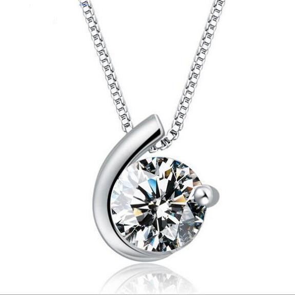 Wedding 925 Sterling Silver Necklace Chain Blue CZCrystal SwirlPendantUK Sell