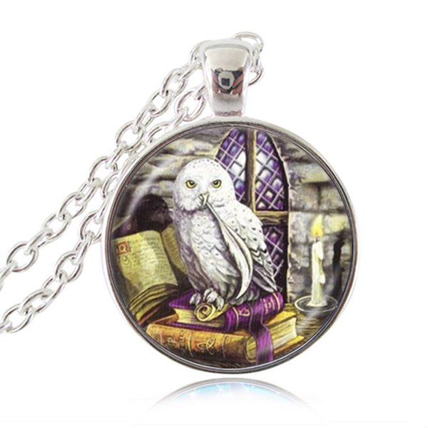 Owl and Book Necklace Wicca Bird Pendant Animal Jewelry Wiccan Necklace Glass Dome Silver Chain Sweater Neckless Women Charm Accessories