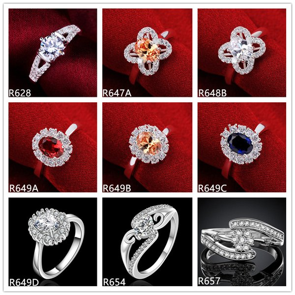 best selling 10 pieces mixed style women's gemstone sterling silver ring , wholesale high grade fashion wedding 925 silver ring GTR48 factory direct sale