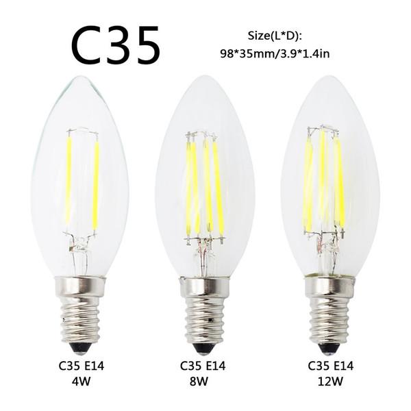 auf lager E27 E14 E12 Dimmbare led Glühbirne 4w 8w 12w 16w High Power Glaskugel 110V 220V 240V Retro led Edison Lampe Kerzenlichter