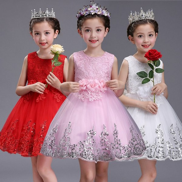 2017 Baby Girls Tulle Lace Dresses Kids Girls Princess 3D Floral Dress Girl Luxury Party Dress Babies Summer clothing